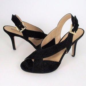 Michael Kors Black Suede Peep Toe Heel Ankle Strap